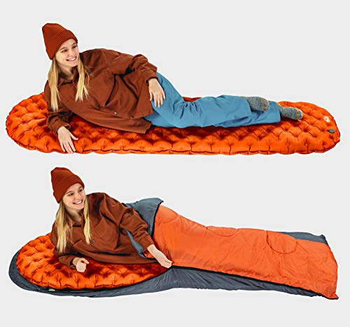 Camping Sleeping Pad - Mat, (Large), Ultralight Best Sleeping Pads for Backpacking, Hiking Air Mattress - Lightweight, Inflatable & Compact, Camp Sleep Pad (Orange)