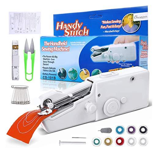 Dweyka - Mini máquina de coser manual, 18 piezas, máquina de coser eléctrica, portátil, puntada rápida y manejable para tela, para uso doméstico y de viaje