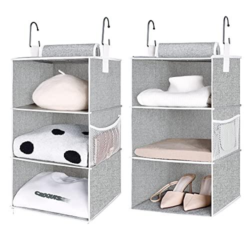 "StorageWorks 6-Shelf Hanging Closet Organizers, Two 3-Shelf Separable Closet Hanging Shelves, Canvas, Gray, 12"" W x 12"" D x 42"" H"