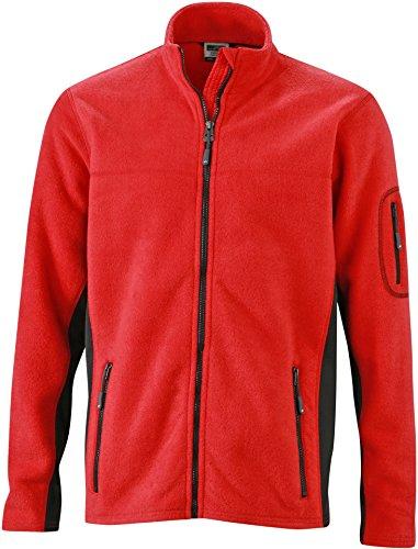 FaS50842 Workwear Microfleece Jacke Fleecejacke Herrenjacke Fleece Arbeitsjacke, Größe:M;Farbe:RED/BLACK