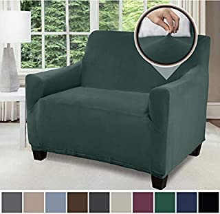 Gorilla Grip Original Fitted Velvet 1 Piece Chair Protector for Seat Width up to 48 Inch, Stretchy Furniture Slipcover, Fastener Straps, Spandex Chair Cover Throw for Pets, Armchair, Hunter Green