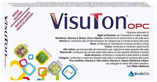 VisuTonopc integratore alimentare di Vitis Vinifera, Luteina, Vitamine, Minerali, Amminoacidi, per capelli e unghie normali