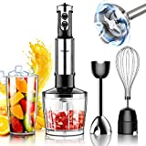 Hand Blender, 500 Watt 6-Speed Toyuugo 4-in-1 Immersion Multi-Purpose Stick Blender with Egg Whisk, 600ml Container, 500ml Food Grinder Puree for Infant Food, Smoothies, and Soups, Black, HB-6002