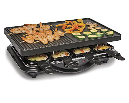 Hamilton Beach 8-Serving Raclette Electric Indoor Grill, Ideal for Parties and Family Fun, Black...