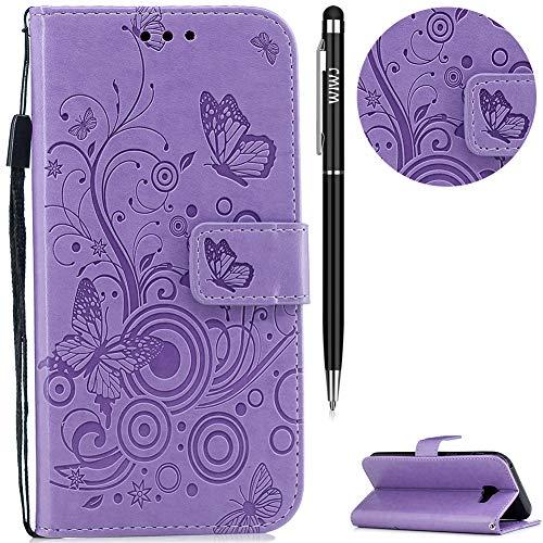 WIWJ Galaxy A5 2017 Hülle, Premium Tasche Cover Handyhülle[Geprägtes Schmetterling Schnallen Holster] Brieftasche Flip Case Lederhülle Schutzhülle Handyhüllen für Samsung Galaxy A5 2017-Lila