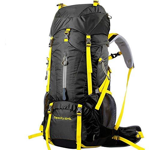 Gymqian Waterproof Backpack for Outdoor Hiking Camping Travel 60 + 5L Professional Rucksack Internal Frame Bag/Black