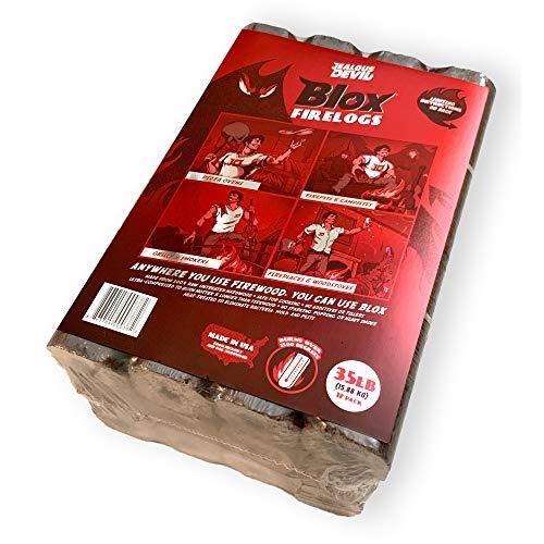 Jealous Devil Blox Hickory & Oak Compressed Natural Hardwood Firewood for Cooking and Grilling, 12 Logs