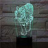 lampara 3D Pared Luz Nocturna luz Animal Tigre 16 Cambios de Color Interruptor táctil y Remoto Navidad