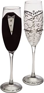 hand painted wedding champagne glasses