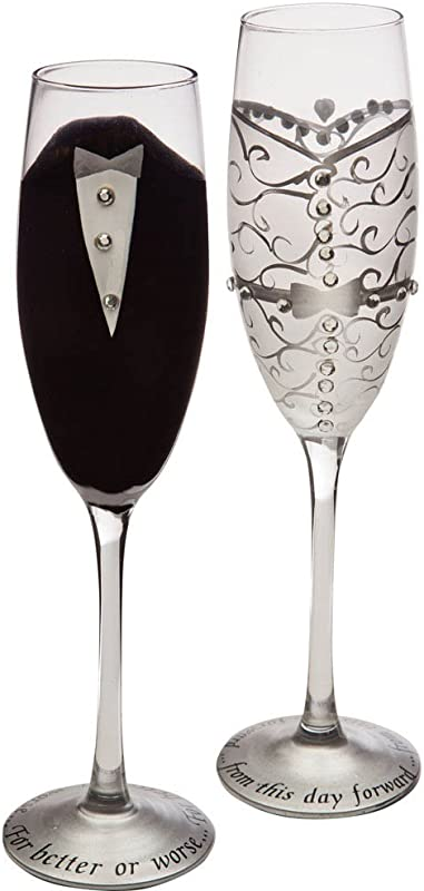 Cypress Home Hand Painted 8 Oz Bride And Groom Wedding Champagne Toasting Flute Glasses Set Of 2 Metallic Accents 6 75 W X 4 D X 11 H