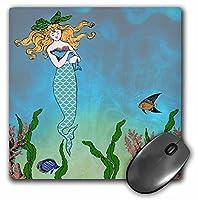 3drose 8x 8x 0.25Cute PrettyマーメイドHugging Baby Seal Underwater Mythicalヴィンテージアートat Sea Ocean Marineテーママウスパッド( MP _ 112836_ 1)