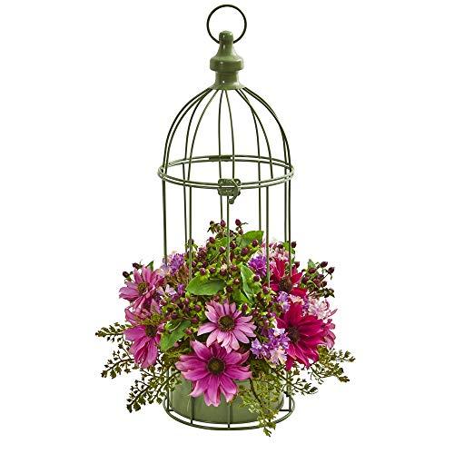 Nearly Natural Daisy Artificial Decorative Bird Cage Silk Arrangements, Pink