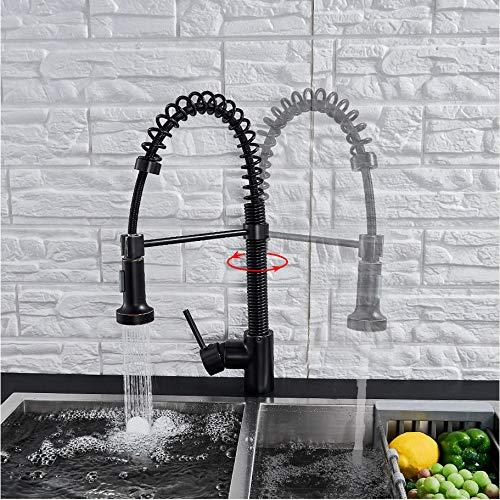 LLLYZZ Keukenkraan zwart brons/chroom gemonteerd hete koud water mengkraan voor Spring Kitchen Pull Out Mixer Crane