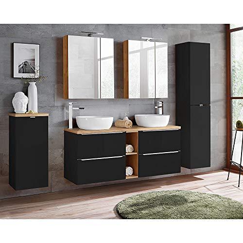 Lomadox Badmöbel Set 140 cm Doppel-Waschtisch inkl. 2 Keramik-Aufsatzbecken, Hochschrank, 2 Spiegelschränken, Wäscheschrank, seidenmatt anthrazit, Wotaneiche