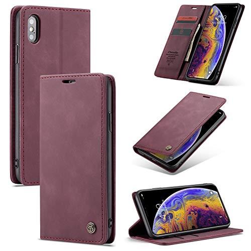 Caja del teléfono For IPhone X / X, el teléfono retro de piel suave mate de la caja es magnético y puede ser utilizado como una delgada carpeta del teléfono caso for un soporte for teléfono Soporte a