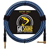 Guitar Cable 10 ft - 1/4 Inch Right Angle Blue Instrument Cable - Professional Quality Electric Guitar Cord and Amp Cable - Low Noise Bass and Guitar Cables - Reliable Cords for a Clean Clear Tone