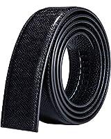 Mens Ratchet Belt Without Buckle,Fashion Dress Belt Black Genuine Leather Strap 51.2 Inch Long Adjustable