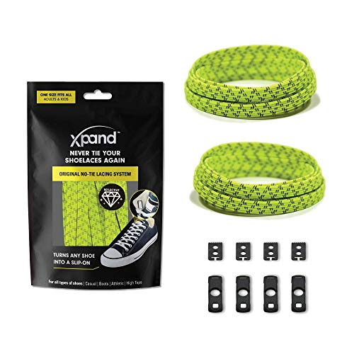 Xpand No Tie Shoelaces System with Reflective Elastic Laces - Lemon Lime - One Size Fits All Adult and Kids Shoes