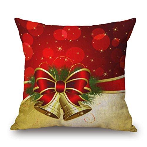 taie d'oreiller; kingko® Linge de maison Carré de Noël Throw lin taie d'oreiller Coussin décoratif Coussin