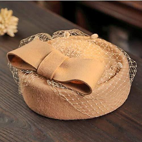 LXQ Pilulier Head Wear Mesdames diadème de mariée Maille Beret Mariage Ocktail Tea Party Bow pour Les Femmes,4