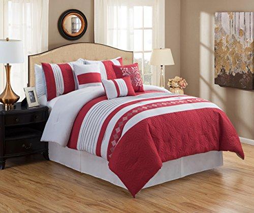 JBFF 7 Piece Luxury Embroidery Bed in Bag Microfiber Comforter Set (Red, Queen)