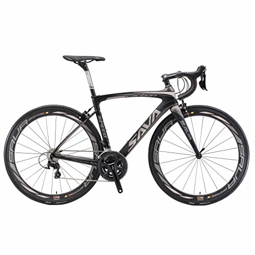 Carbon Road Bike, SAVA HERD6.0 T800 Carbon Fiber 700C Road Bicycle with 105 22 Speed Groupset Ultra-Light Carbon Wheelset Seatpost Fork Bicycle Black Grey 52cm