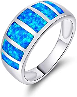 VOLUKA Blue Opal Band Rings Unisex Gold Plated as Promise Gift