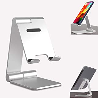 AutoSonic Aluminum PhoneStand Holder, Adjustable Height and Angle, Phone Base Mount, Anti-Slip Base, Compatible with All ...