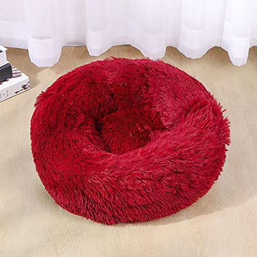 Tivivose Super Soft Dog Bed Sofa Plush Cat Mat Dog Beds For Labradors Large Dogs Bed House Pet Round Cushion Best Dropshipping (Color : Wine Red, Size : Xxl 100cm)