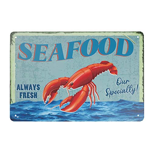 Angeloken Retro Tin Sign Vintage Metal Sign Seafood Always Fresh Our Specialty!Wall Poster Plaque for Home Kitchen Bar Coffee Shop 12x8 Inch