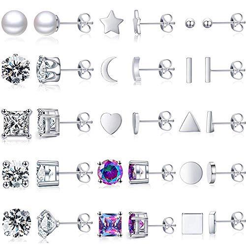 15 Pairs Silver stud Earrings for Women small Stud Earrings Set Multiple Tiny Ball Star Stud Earrings Cubic Zirconia Hypoallergenic Pearl Earrings for Men Women