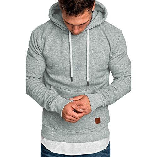 Sweat à CapucheHomme, FNKDOR Hommes Pull Sweatshirt Manche Longue Vêtements de Sport pour Couples avec Grosse Poche Hoodies(A Gris,M)