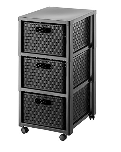 Rotho  Tower Country  Rollcontainer mit 3  Schubladen in Rattan - Optik, Kunststoff (PP), schwarz, (37,5 x 32,5 x 71,2 cm)
