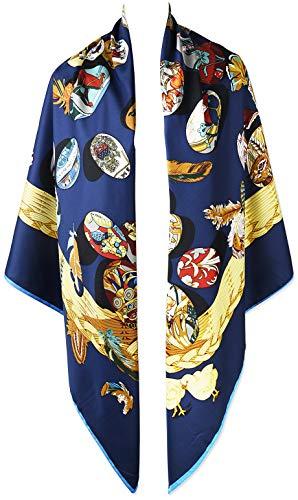 50 Inches 130cm Dark Powder Blue Jewelry Large Square Twill Oversize Womens Winter Scarfs Shawls Wraps