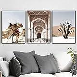 RLJHG Marruecos Puerta Desierto Camello imágenes artísticas de Pared Paisaje Lienzo Pintura Cartel nórdico e impresión para Sala de Estar decoración del hogar 40x60cmx3 sin Marco
