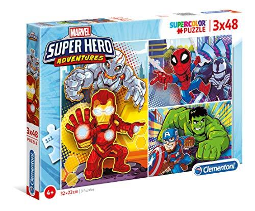 Clementoni- Marvel Super Hero Avengers Puzzle, 3 x 48 Pezzi, Multicolore, 25248