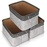 JOMARTO Storage Basket Bin Set [3-Pack], Large Cube Storage Box Linen Fabric Built-in Soft Lining Collapsible Storage Organizer with Handles for Nursery Shelf - 15 L x 10 W x 9 H(Grey+Black)