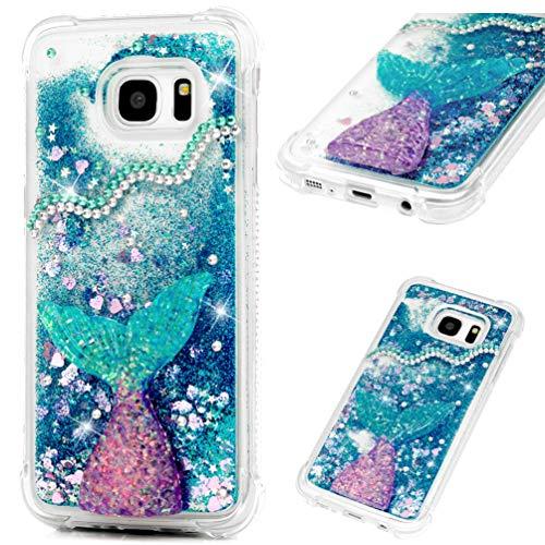 Carcasa para Samsung Galaxy S7 Edge 3D, con purpurina líquida, con purpurina y arena movediza, brillante, transparente, de silicona TPU, a prueba de golpes, para Samsung Galaxy S7 Edge, Dreamy Fish