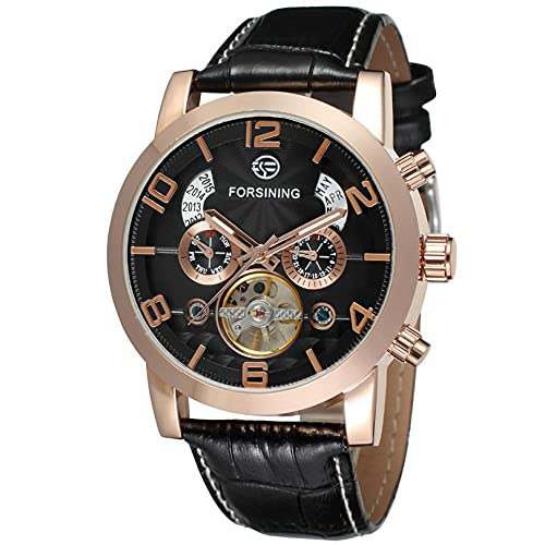 Excellent Relojes para Hombre Strap de Cuero mecánico Gypsophila Tourbillon Relojes automáticos de Pulsera para Hombres Mens Skeleton Mecánico Mecánico Reloj,A06