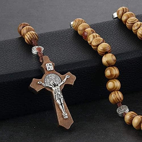Yiffshunl Collar Rosario Rosario Collar de Cuentas Moda Mujer Gargantillas Regalos para Madre Medalla Colgante Jesús con Cruz Joyas religiosas