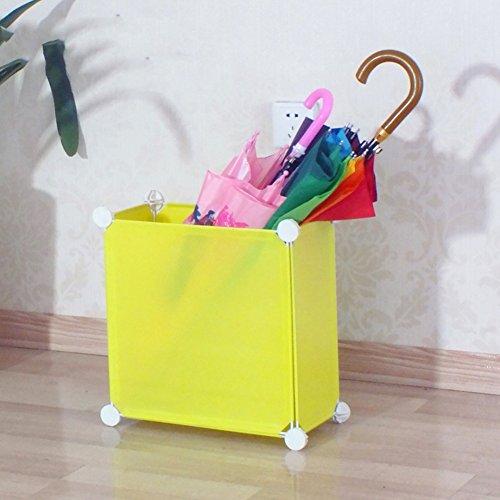 JXXDDQ Support de parapluie en plastique assemblé, bâton de marche de Hall d'hôtel de couloir de ménage et support de stockage de parapluie, carré-35 * 35 * 17cm (Couleur : Le jaune)