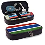 Estuche de cuero de alta capacidad con bandera de Gambia, organizador de papelería para bolígrafo grande, organizador de caja de bolsa de almacenamiento grande