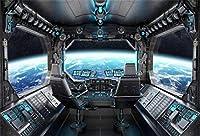 Leyiyi 10x8フィート スペースステーション インテリア バックドロップ 宇宙探検 太陽系 惑星 惑星 ヴィンテージ 重金属 カプス 写真 背景 カウボーイ 誕生日 ポートレート スタジオ ビニール 小道具 壁紙