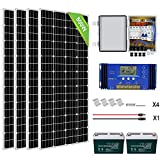 ECO-WORTHY 800 Watts Complete Solar Power System Kit Off Grid with battery: 4pcs 195W Mono Solar Panel Module + 60A Charge Controller + Combiner Box + 200Ah 12V Batterry for RV, Boat, Off-Grid Systems