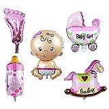 TRIXES 5-er Set Folienluftballons in Pink, Motto Baby-Dusche in den Motiven Kinderwagen, Schaukelpferd, Fläschchen, Fuß und Baby