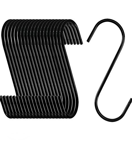 NACTECH 20 Pack S Hooks for Hanging Black S Shaped Hooks Heavy Duty Metal S Hooks for Kitchen Plants Bags Towels Spoon Pans Pots Coffee Cups Bathroom Office and Garden