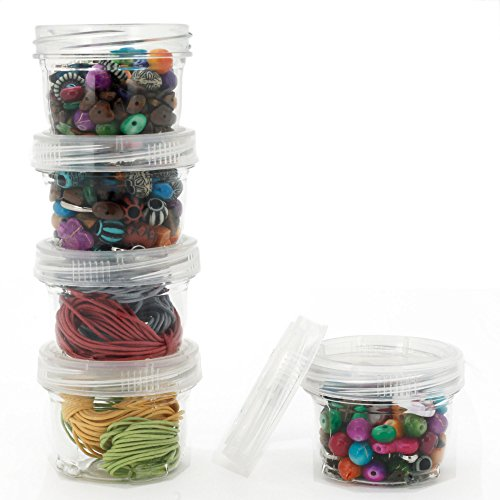 Storage Containers Stackable Interlocking Detachable 5 for Beads Crafts Medicine Small Items 2 Round