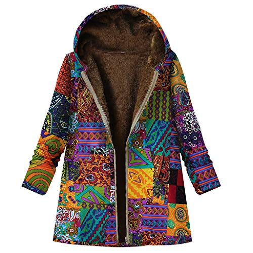 TOPKEAL Jacke Warme Mantel Damen Herbst Winter Sweatshirt Blumendruck mit Kapuze Kapuzenjacke Hoodie Taschen Pullover Übergroße Outwear Coats Mode Tops (Orange-1, L)