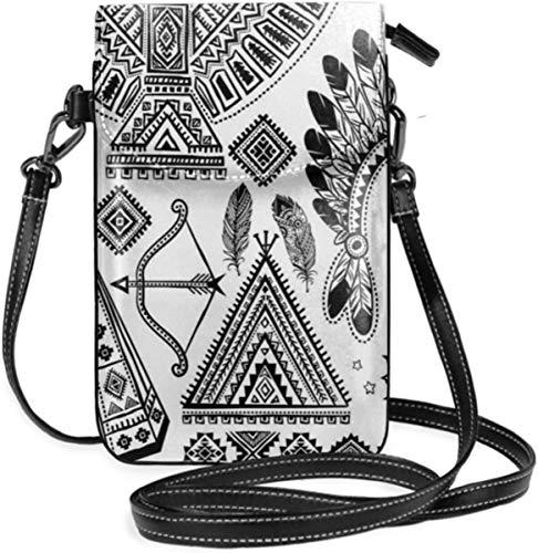Crossbody del Monedero del teléfono Celular de Las Mujeres pequeñas, Banda para la Cabeza de Plumas de los Indios Americanos Tienda de tipis étnicas Arco y Flecha Lámina