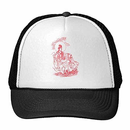 DIYthinker Budismo Religión Dibujo Lineal Guanyin Rojo Budista ilustrado Modelo Gorros Gorra de béisbol del Casquillo del Sombrero de Malla de Nylon Ajustable Adultos